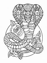 Snake Coloring Cobra Pages Adults Zentangle Drawing Adult Tattoo Printable Vector Illustration Stencil Mandala Colouring Curve Dreamstime Mycoloring Immagini Draw sketch template
