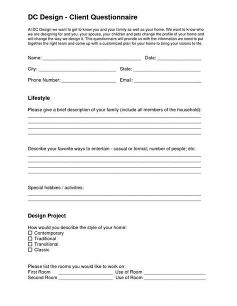 Image result for interior design questionnaire template in