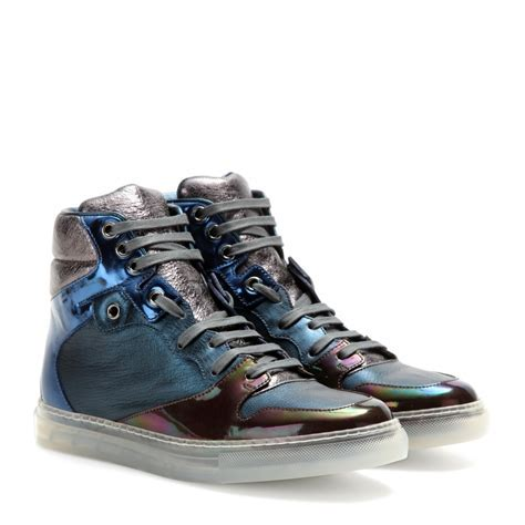 Balenciaga Leather High Top Sneakers in Blue   Lyst