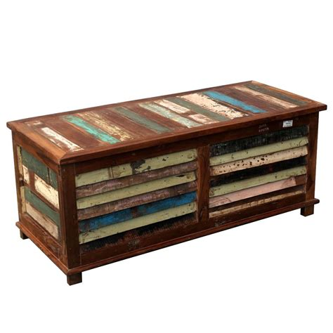 This coffee table will make a practical as well as a decorative addition to your home. Rustic Reclaimed Wood Multi-Color Coffee Table Storage ...