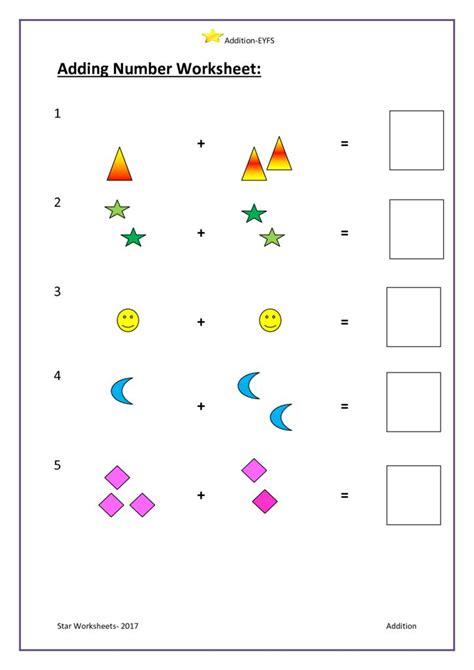 adding number worksheet eyfs worksheets
