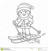 Coloring Winter Skiing Cartoon Sports Outline Outdoor Vector sketch template