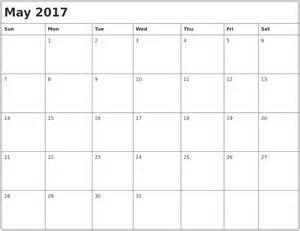 Printable Month Calendar May 2017