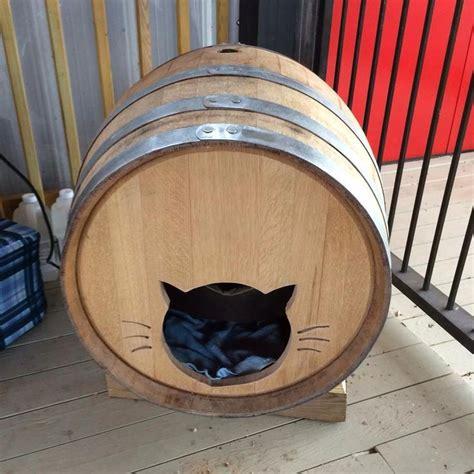 heated wine barrel cat house   tim gorman