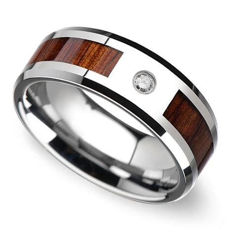 beveled diamond men s wedding ring with koa inlay in tungsten