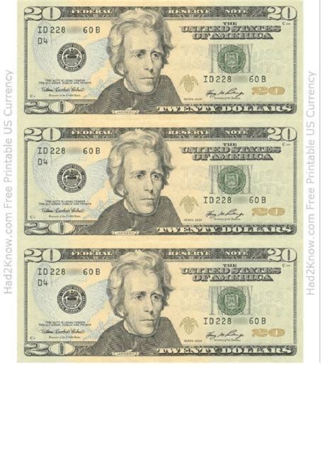 twenty dollar bill template front printable