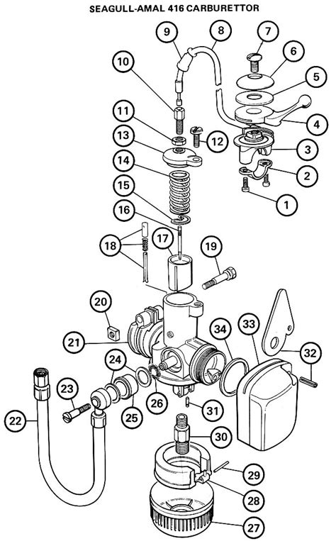 Exploded drawing of the Amal 416 carb as fitted to British