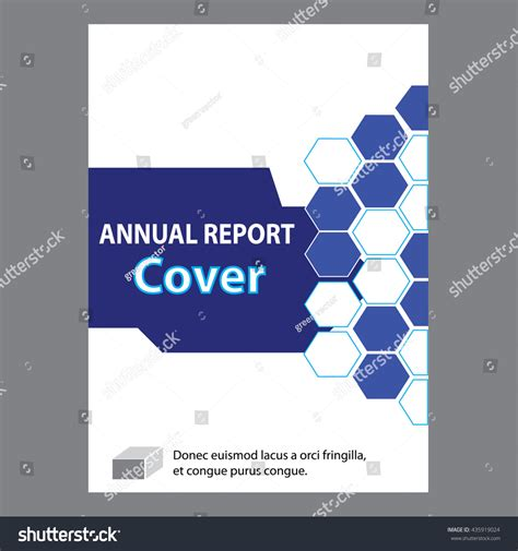 create page template blue annual report title page sle stock vector 435919024
