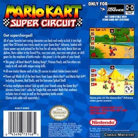 Mario Kart Super Circuit Game Boy Advance Box Art