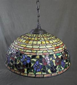 Authentic Signed Somers Tiffany Leaded Glass Hanging Lamp