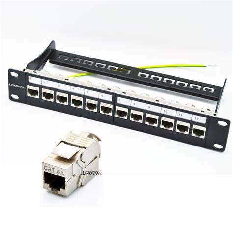 Patch Panel 6 by 12 Cat6a Patch Panel Loaded With 12x Cat6a Shielded
