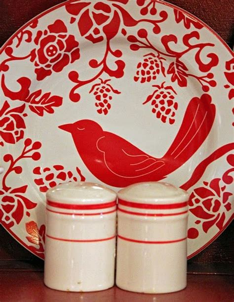 Pier 1 Plates White and Red Bird