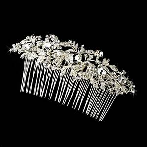 Vintage Silver Clear Crystal Rhinestone Bridal Hair Comb