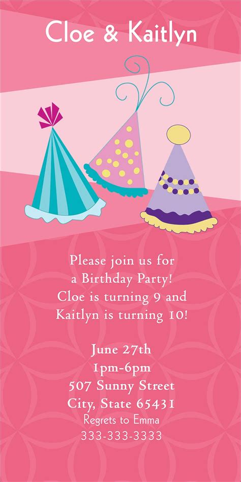 party hats pink party greeting cards  cardsdirect