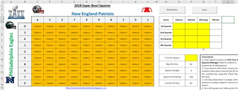 excel spreadsheets  super bowl squares template