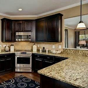dark wood and another corner stove kitchen ideas With light and dark colors for kitchen cabinets colors