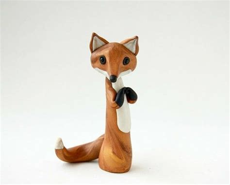 cute fox sculpture foxes whittling wood wood