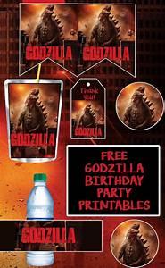 Printable Superhero Party Invitations Free Godzilla Birthday Party Printable Files Cupcake