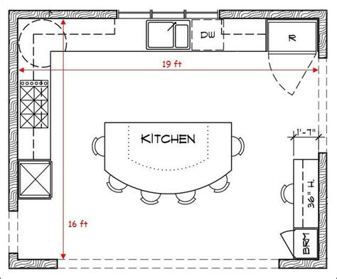 L Shaped Kitchen Floor Plans With Island And Some Stool