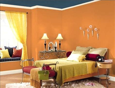 interior paints for bedrooms with orange paint
