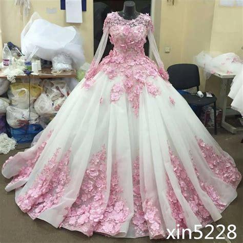 princess wedding dress gown pink flower chaple train