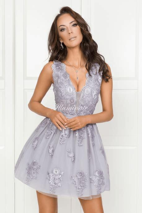 adelle szara tiulowa rozkloszowana sukienka z gipiury idealna wesele