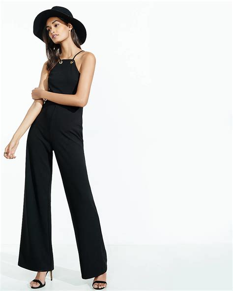 express jumpsuits express black jumpsuit with grommets in black lyst