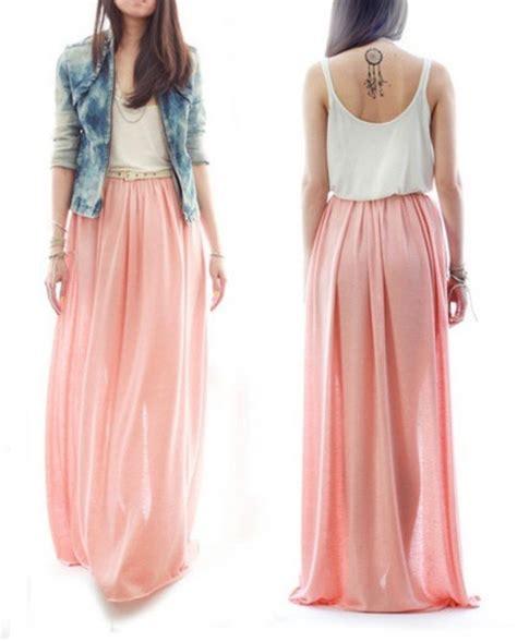 Pink nude Chiffon skirt Maxi Skirt Long Skirt pastel by ChicUtopia