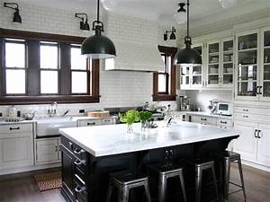 Traditional Kitchen in White Subway Tile With Black Island