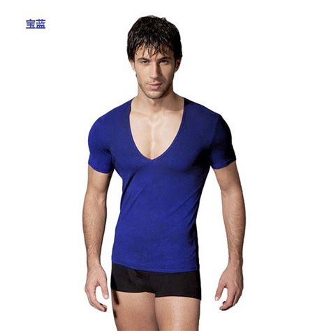Fashion Silket V Neck mens elastic v neck slim fit t shirt fashion