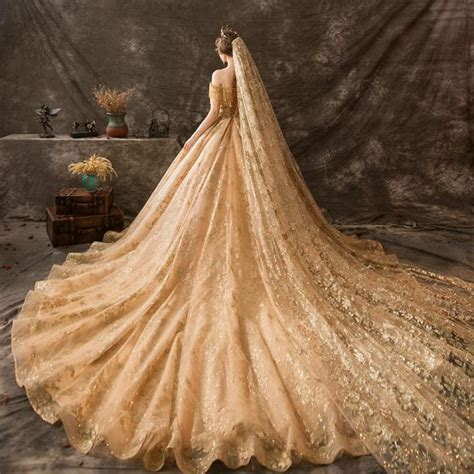 luxury gorgeous gold wedding dresses  ball gown   shoulder beading tassel lace