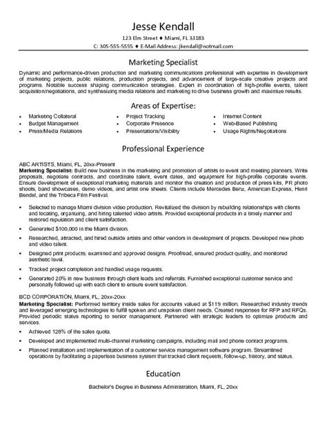 exle marketing specialist resume free sle