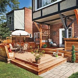 terrasse en bois multifonction patio inspirations With amenagement exterieur maison neuve 15 couverture bac acier