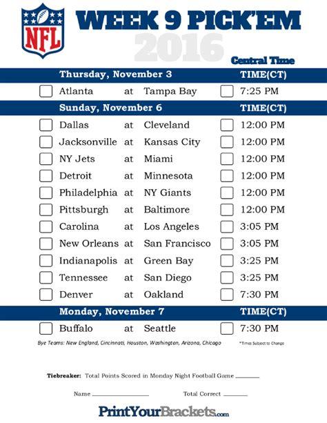 Office Football Pool Week 3 by Central Time Week 9 Nfl Schedule 2016 Printable