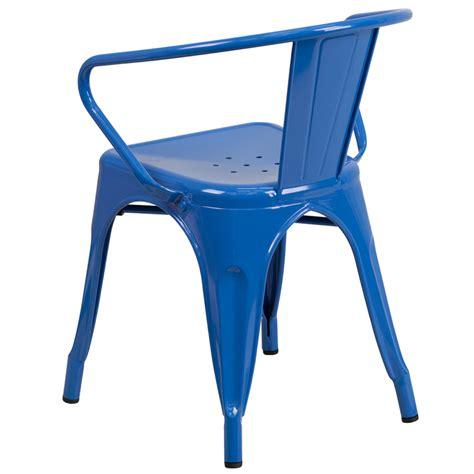 cobalt blue galvanized tolix arm chair in outdoor