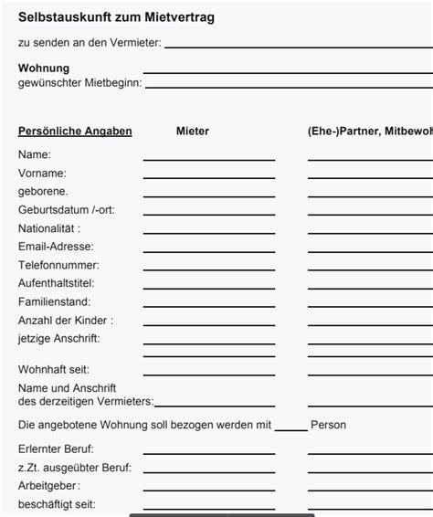 Selbstauskunft Wohnung Formular by Selbstauskunft Mieter Formular Mieterbund Modell