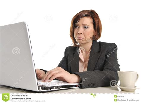 Sad Business Red Haired Woman In Stress At Work With Computer Stock Photo - Image of laptop ...