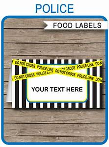 Cooking Party Invitations Police Theme Food Labels Place Cards Police Birthday Party