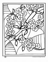 Cherry Blossom Coloring Pages Tree Colouring Blossoms Adult Sheets Fantasy Cool sketch template