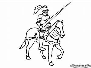 Horse and knight coloring page