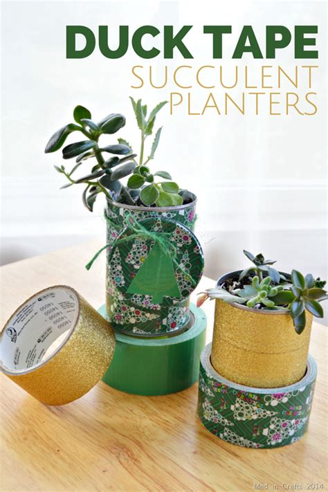 duck tape succulent planter gift mad  crafts