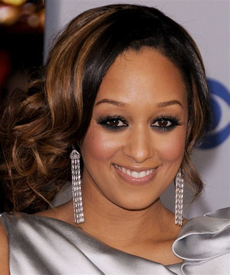 tia mowry formal long curly updo hairstyle black copper
