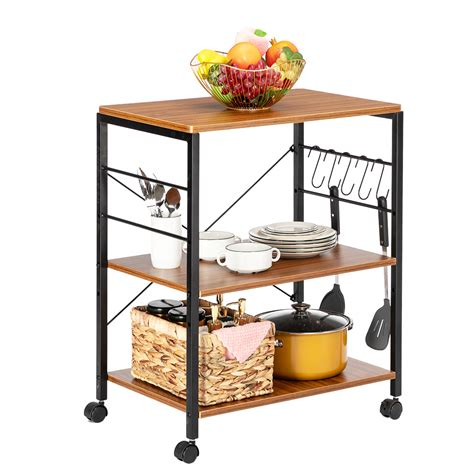 Measures 59.25 high x 25.25 wide x 17.6 deep. Artisasset 3-Tier Kitchen Utility Cart , Rolling Bakers Rack , Coffee Table Storage Shelf ...