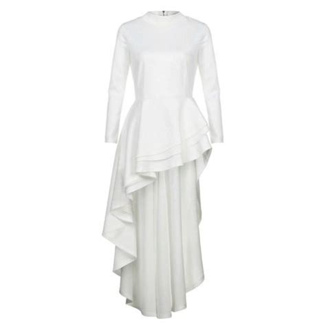Fashion Women Long Sleeve High Low Peplum Dress Bodycon