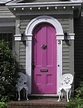 Purple arched front door, gray house, white trim | Unique front doors, Painted front doors ...