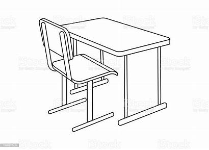Desk Icon Outline Supplies Element Isolated Visual