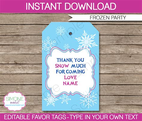 frozen party favor tags template   tags editable