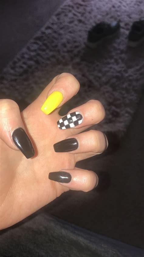 checker nailart nails acrylic nail art