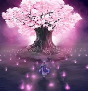 Video games Touhou cherry blossoms trees anime Saigyouji ...