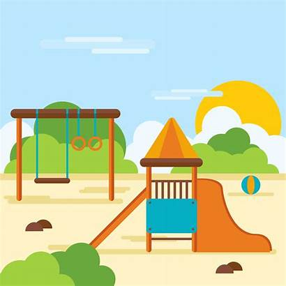 Playground Playhouse Vector Middle Illustrator Park Playing